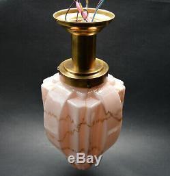 Antique CZECH ART DECO 1930's Pink Marble Glass Shade Pendant LIGHT SKYSCRAPER