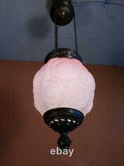 Antique Converted Kerosine Red Art Glass Hanging Lamp