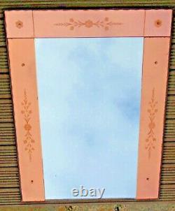 Antique French Art Deco Art Nouveau Venetian Peach Glass Etched Engraved Mirror