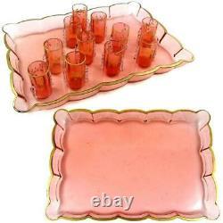 Antique French Pink Art Glass Raised Gold Enamel Liquor Set, Decanters Cordials