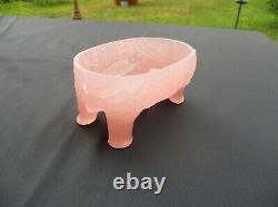 Antique French Pink Opaline Vallerysthal Portieux Elephant Mahout Covered Box