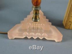 Antique Pair Art Deco Bakelite/catalin Pink Glass Boudoir Table Stick Lamps