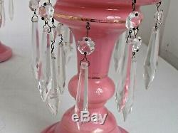 Antique Pair of Pink Cased Glass Mantle Lustres 12 1/8 tall