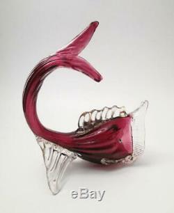 Antique Salviati Venetian Italian Murano Cranberry Pink Art Glass Fish Dolphin
