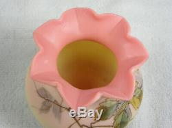 Antique Signed Webb Glass Satin Burmese Rose Bowl / Vase Hand Painted