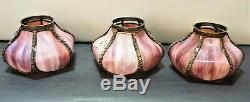 Antique Stain Pink Slag Glass Mission Art s & Crafts Victorian shades Set of 3