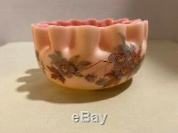 Antique (Super RARE) Thomas Webb & Sons Queen Burmese Art Glass Pinched Bowl