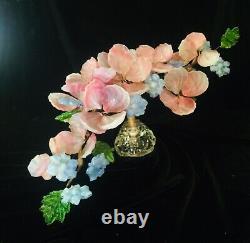 Antique Venetian Murano Glass Pink, Blue and Green Flower Centerpiece 22