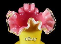 Antique Victorian Art Glass Vase Ruffled Enameled Birds Decoration Yellow Pink