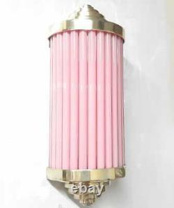Antique Vintage Art Deco Brass & Pink Glass Rod Light Fixture Wall Sconces Lamp