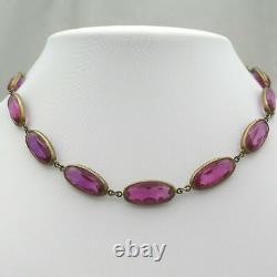 Antique Vintage Art Deco PINK Glass Paste Czech Bohemian Jewel Necklace Beads