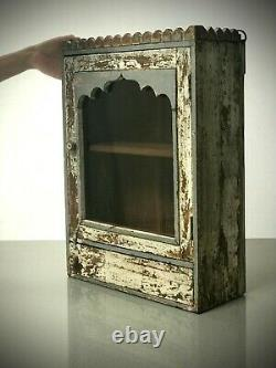 Antique Vintage Indian Cabinet. Art Deco. Display/bathroom. Two-tone Grey & Pink