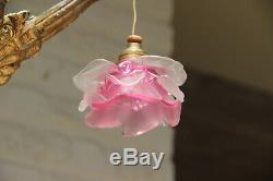 Antique art nouveau french pink tulip glass shade 3 arm chandelier pendant