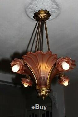 Antique bronze French Art Deco pink rose glass slip shade chandelier France