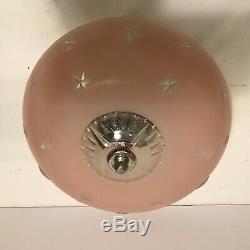 Antique pink glass 10 1/4 Art Deco flush mount ceiling light fixture stars