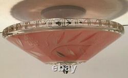 Antique pink glass 12 Art Deco flush mount ceiling light fixture