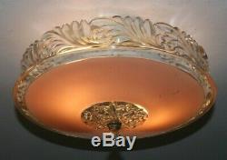Antique pink glass 12 Art Deco flush mount light fixture ceiling chandelier