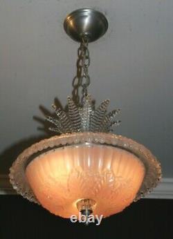 Antique pink glass chandelier Art Deco ceiling light fixture custom built