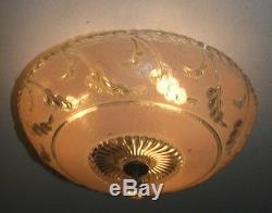 Antique pink glass semi flush original 1940s art deco light fixture chandelier