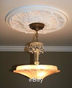 Antique pink glass sunflower art deco light fixture ceiling chandelier 1940s