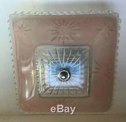Antique pink square glass 11 1/2 Art Deco flush mount ceiling light fixture
