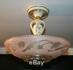 Antique semi flush pink Porcelier glass shade Art Deco light fixture chandelier