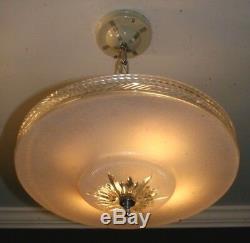 Antique subtle pink glass 16 Art Deco ceiling light fixture chandelier 1940s