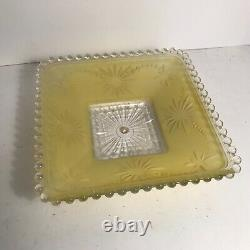 Antique yellow square glass Art Deco flush mount ceiling light fixture