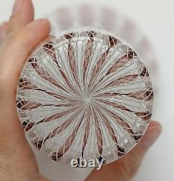 Archimede Seguso Murano Glass Vase Dusty Rose White Zanfirico Ribbons Venini