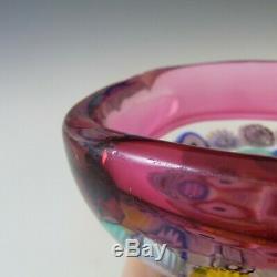 Archimede Seguso Murano Incalmo Millefiori Pink Square Glass Bowl