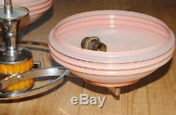 Art Deco Bakelite / Phenolic / Catalin Centre Light + Pink Glass Shades