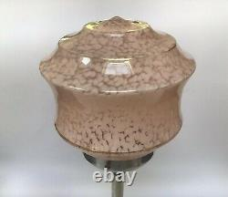 Art Deco Brushed Chrome Lamp With French Pink Glass Shade