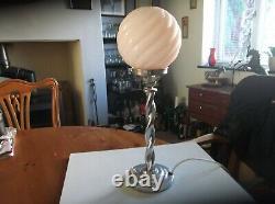 Art Deco Chrome Barley Twist Lamp & Pink Spiral Glass Shade