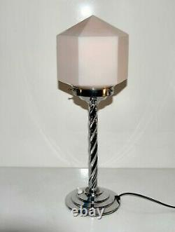 Art Deco Chrome Table Lamp & Geometric pink Glass Shade