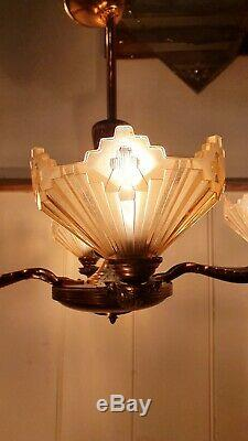 Art Deco Copper & Pink Frosted Glass Chandelier, 1920s Authentic Lighting