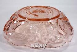 Art Deco Crown Crystal Pink Depression Glass Horseshoe Bowl