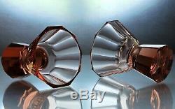 Art Deco Czech Bohemian Peach Rose Faceted Glass Decanter Set 8pcs