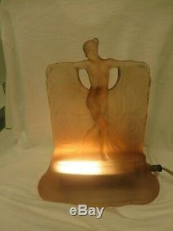 Art Deco McKee Glass Danse De Lumiere Nude Figure Lamp Pink c1930 Lalique Style