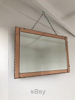 Art Deco Mirror Pink Mirror With Pie Crust Lovely Panel Mirror