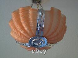 Art Deco Odeon Clamshell Ceiling Light Pink Glass and Chrome Frame with Chains