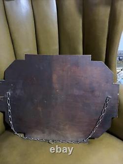Art Deco Original 1930s Frameless Chain Peach Glass Chain Mirror Antique Deco