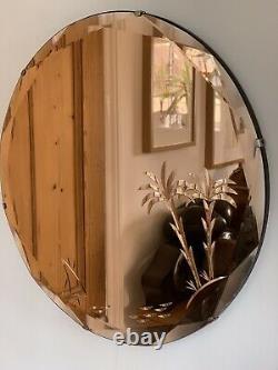 Art Deco Original 1930s Frameless Chain Peach Glass Oval Mirror Antique Deco