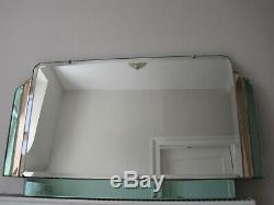 Art Deco Overmantel Mirror Curved Top Corners Pink and Green Accent Glass
