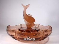 Art Deco Pink Depression Glass Three Piece Fish Float Bowl