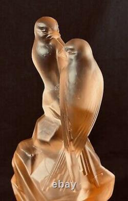 Art Deco Pink Depression Glass Walther & Sohne Birds Float Bowl Centrepiece
