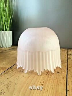Art Deco Pink Frosted Drip Ribbed Holophane Teardrop Glass Ceiling Light Shade