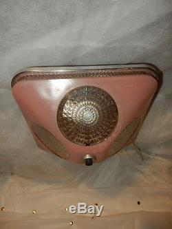 Art Deco Pink Square Glass Light Fixture Ceiling Chandelier 1940s- One Avai