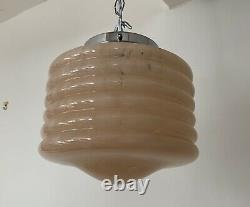 Art Deco Ribbed Pink Marbled Glass Pendant Light C. 1930