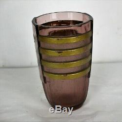Art Deco Vase Val St Lambert Pink Gold Etched Glass Flowers Egmond Belgium HTF