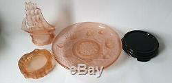 Art Deco Walther Nelson Pink / Peach Frosted Glass Complete Centrepiece